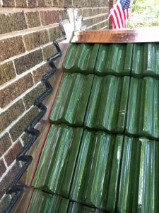 Green glazed clay tile porch roof